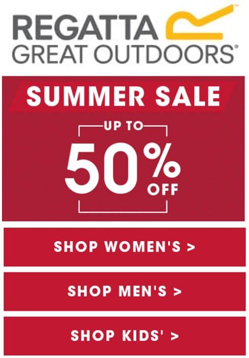REGATTA SUMMER SALE - up to 50% off Womens, Mens, Kids - PLUS EXTRA 10%