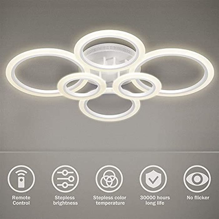 6 Ring 72W Dimmable LED Ceiling Light - save 60%