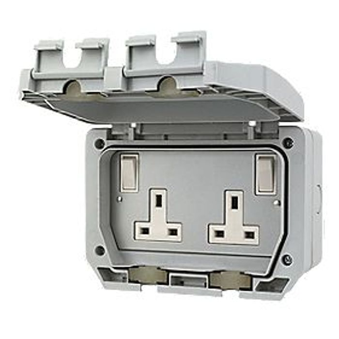 LAP IP66 13A 2-Gang DP Weatherproof Outdoor Switched Socket