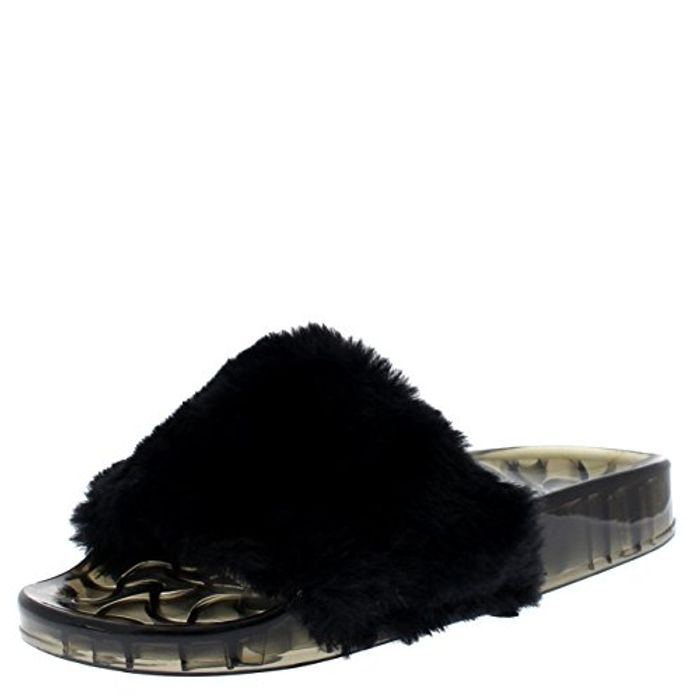 Womens Sassy Chic Summer Single Strap Open Toe Fluffy Flat