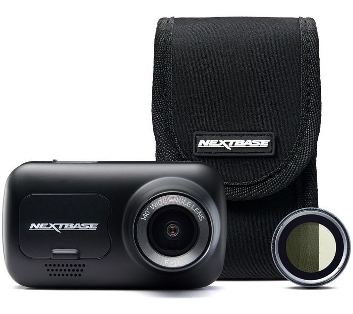 Nextbase222GPS Full HD Dash Cam, Case & Polarising Filter Bundle - Black -