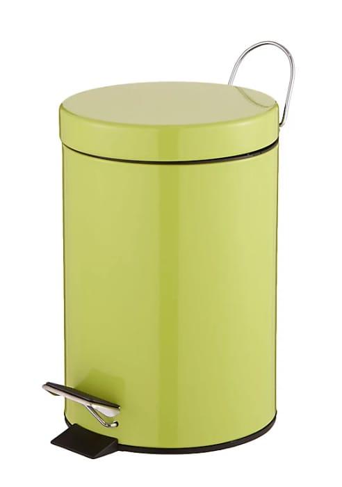Diani Bamboo Powder-Coated Iron round Bathroom Pedal Operated Lid Bin, 3L