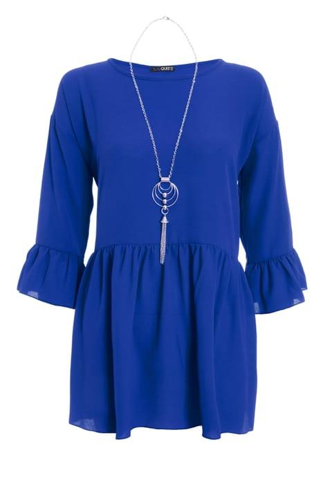 Blue Peplum Necklace Top