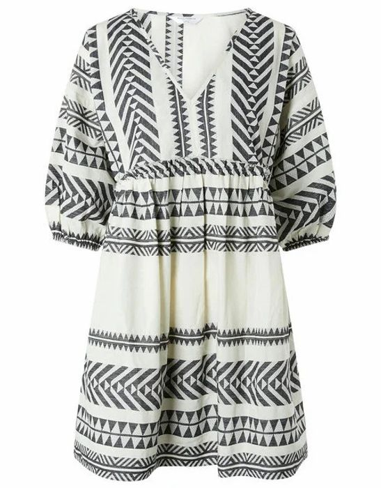 Patterned Jacquard Smock Dress in Pure Cotton Black