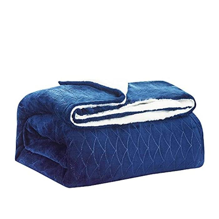 Sherpa Blanket Dark Blue Twin / Double Size (150 X 200 Cm) Fleece Blanket