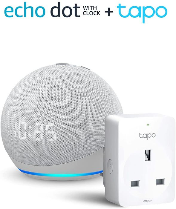 Echo Dot (4th Gen) with Clock, Glacier White + TP-Link Tapo P100 Smart Plug