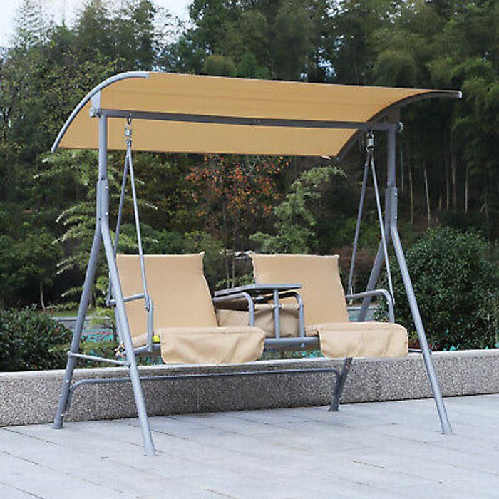 Garden Double Swing Chair Lounger Outdoor Bench Seat Adjustable Canopy