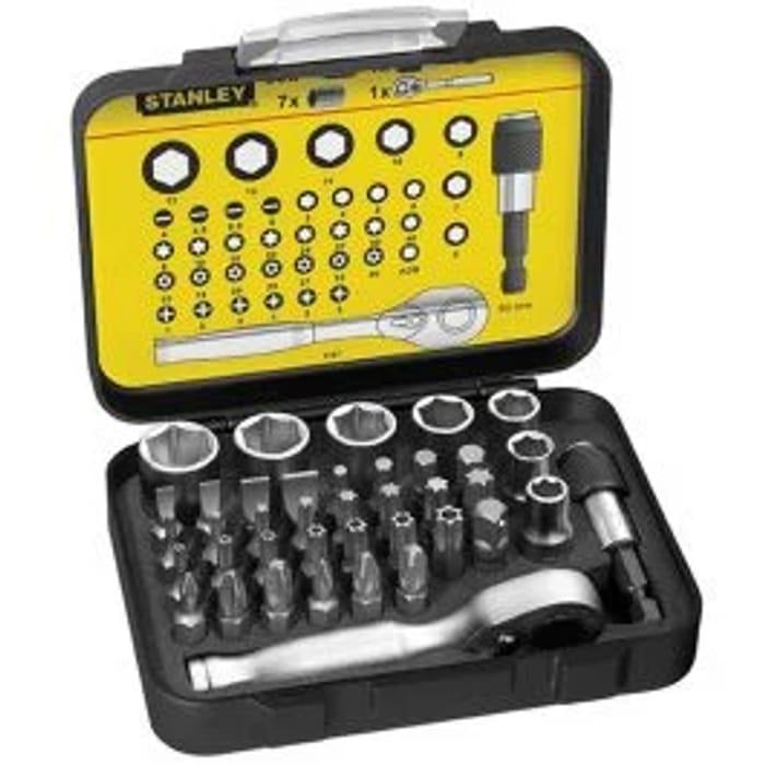 Stanley 1-13-906 1/4in Ratchet Socket & Screwdriver Bit Set 39pc (