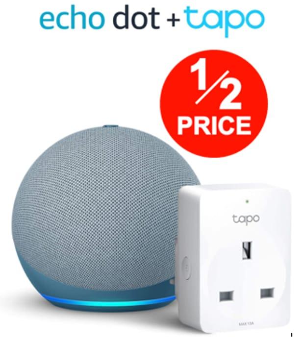 PRIME EXCLUSIVE - Echo Dot (4th Gen) + TP-Link Tapo P100 Smart Plug,
