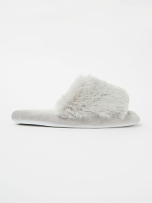 Grey Faux Fur Open Toe Slider Slippers