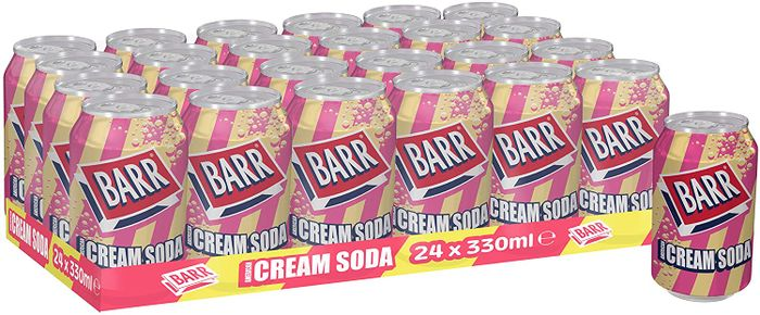 Prime Exclusive Deal - Barr American Cream Soda Fizzy Drink 330ml - Pack of 24