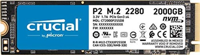 Crucial P2 CT2000P2SSD8 2 TB Internal SSD, up to 2400 MB/s (3D NAND, NVMe, PCIe,