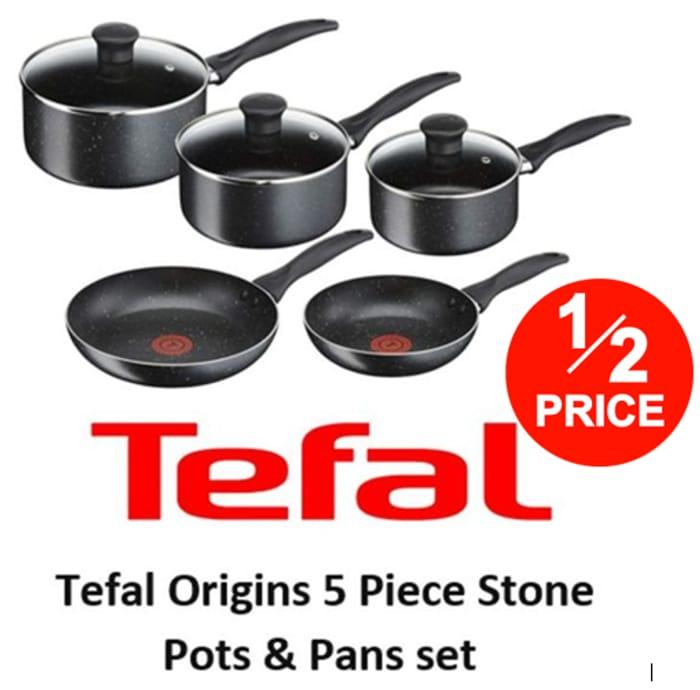 HALF PRICE - TEFAL ORIGINS - 5 Piece Stone Pots and Pans Set
