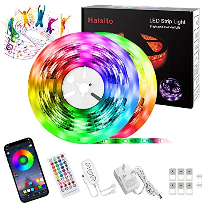 Haisito Bluetooth Colour Chaging Led Strip Lights with Remote, 10m - Only £6.40!