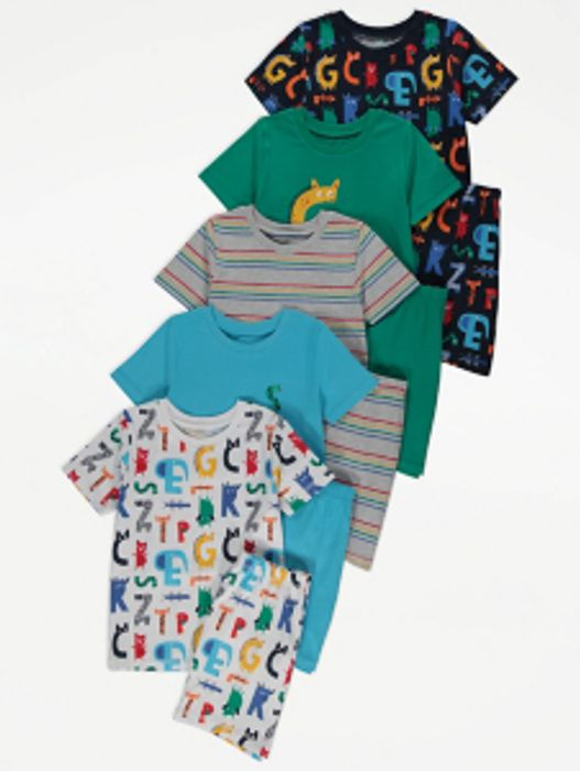 Colourful Alphabet Print Short Pyjamas 5 Pack - Only £10!
