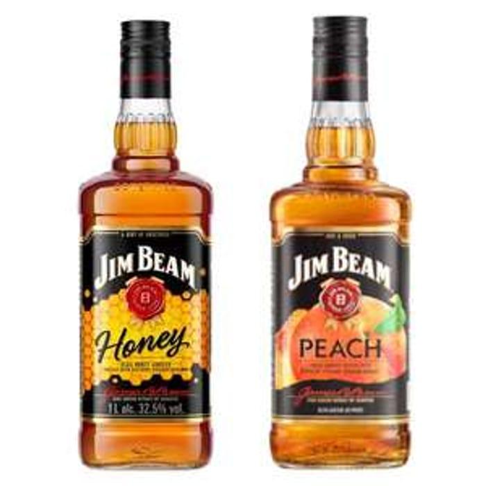 Jim Beam Honey Bourbon Whiskey Liqueur 70cl or Peach 70cl club card deal