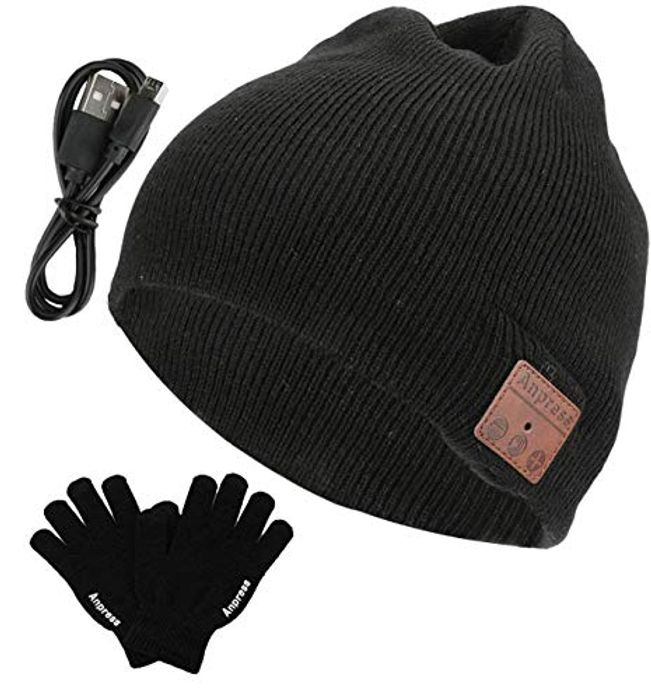 Anpress Washable Bluetooth Beanie + Touchscreen Gloves