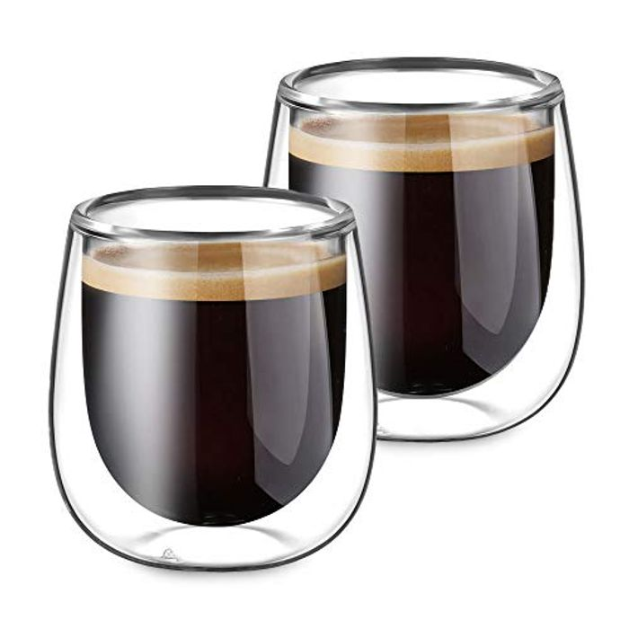 DEAL STACK - Glastal Double Walled Espresso Coffee Glass Cups + Coupon
