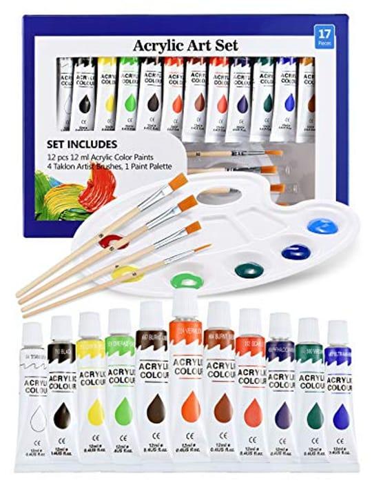DEAL STACK - ATMOKO Acrylic Paint Set for Kids Beginner, 17PCS + £3 Coupon