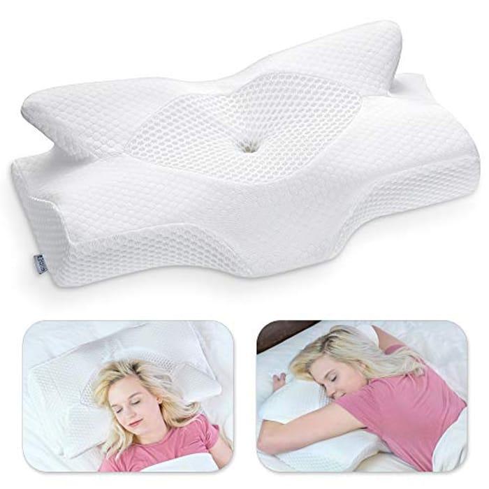DEAL STACK - Cervical Contour Memory Foam Pillow for Neck Pain + £5 Coupon