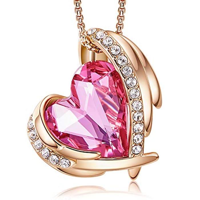LIGHTNING DEAL - CDE 18K Love Heart Crystal Necklaces for Women