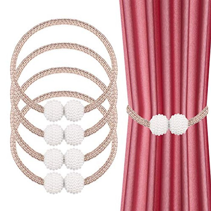 JIZZU 4PCS Exquisite Pearl Ball Shape Magnetic Curtain Tie Backs - Only £4.97!