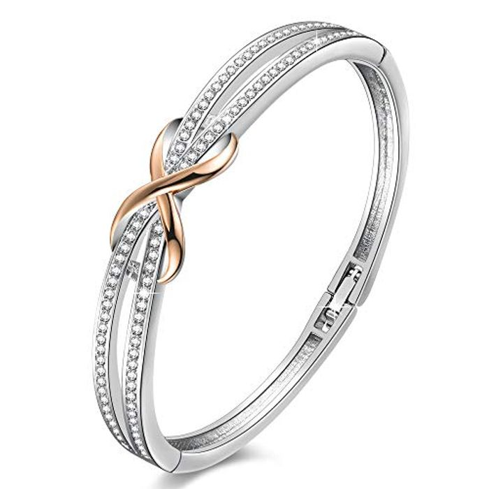 """LIGHTNING DEAL - Angelady""""Forever and Ever"""" Silver Infinity Bracelets"""
