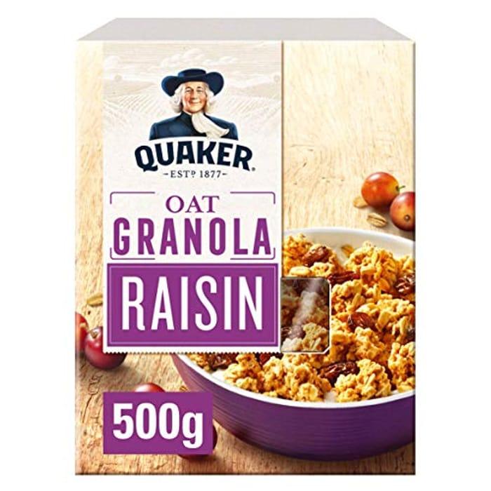 DEAL STACK - Quaker Oat Raisin Granola, 500 G (Pack of 5) + 7% Coupon