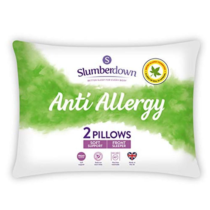 2 Pack Slumberdown Anti Allergy Soft Support Bed Pillows for Front Sleepers