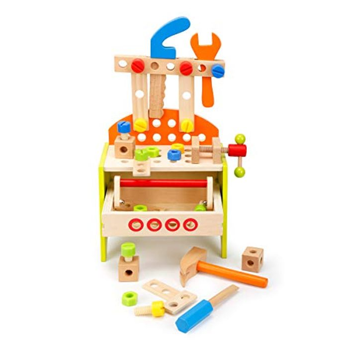 ROBOTIME Workbench Wooden Tools Box Sets for Kids with Drawers - Only £8.04!