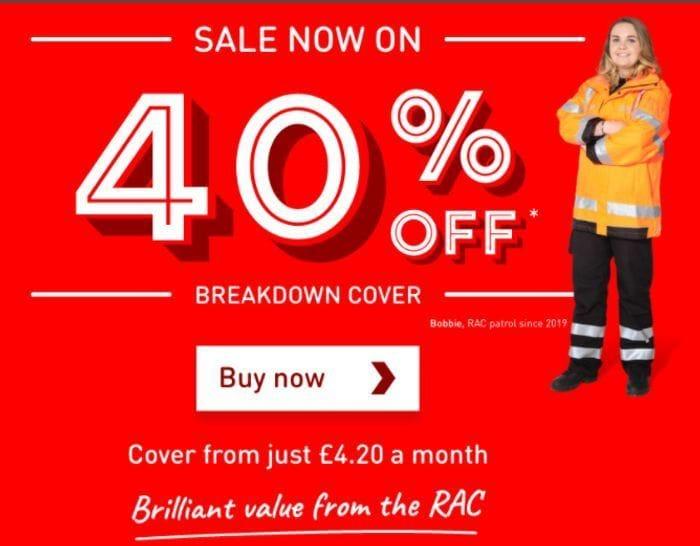 Flash Sale - 40% Off RAC Personal Breakdown Cover - £42 Per Year!