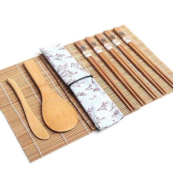 10 Pcs Bamboo Sushi Set