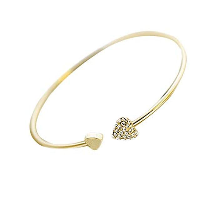 Women's Rhinestone Adjustable Heart Open Bracelet - Only £2.99!