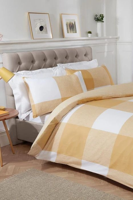 Yellow Double Chunky Gingham Check Duvet Set