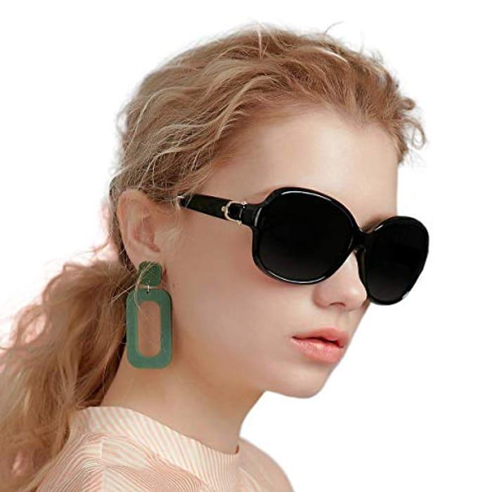 LIGHTNING DEAL - EFE Retro Designer Oversized Polarized Sunglasses for Women