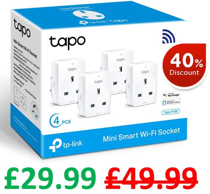 SAVE £20 - TP-Link Tapo Mini Smart Plug Wi-Fi Socket - 4 PACK