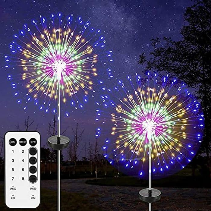 2 Pack Fireworks Lights, Christmas Starburst String Light Solar - Only £11.19!