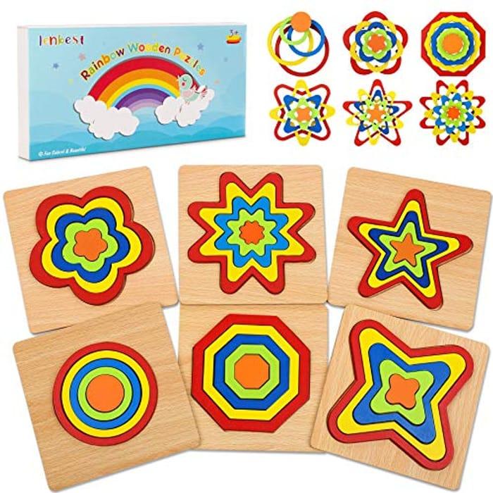 Lenbest Rainbow Wooden Jigsaw Puzzles - Only £2.79!