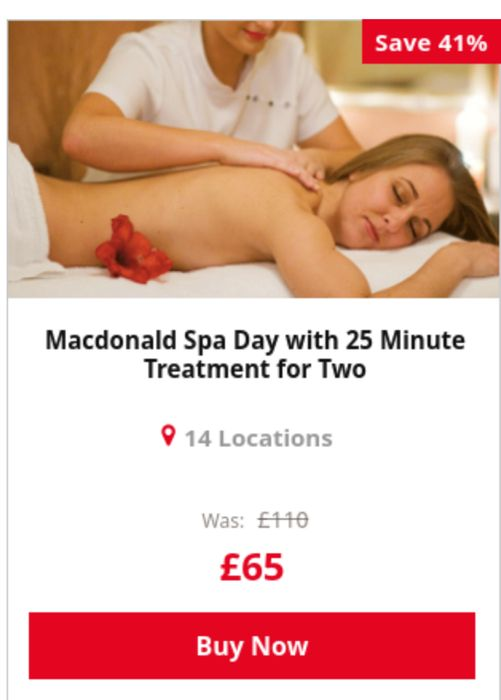 SAVE 41% Macdonald Spa Day with 25 Minute Treatment for Two