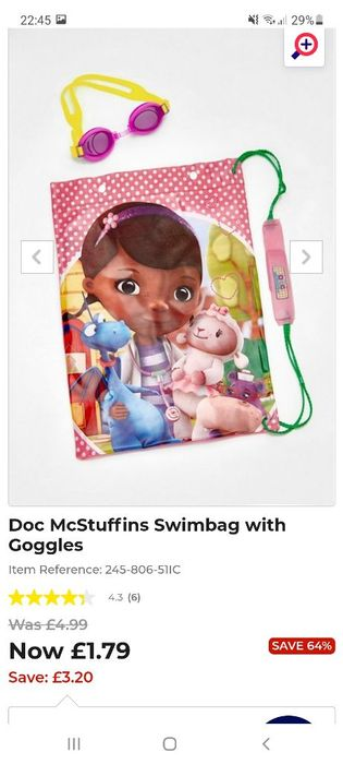 Doc Mustuffins Swimming Bag and Goggles
