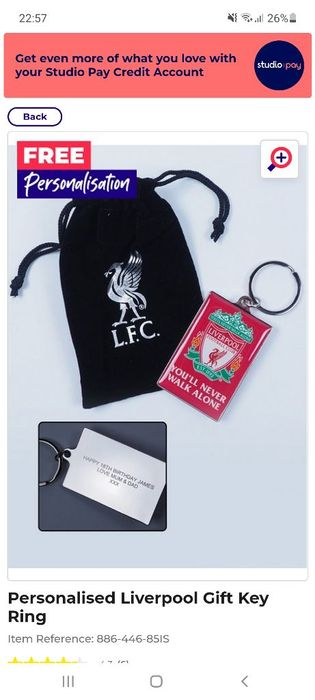 Liverpool for Personalised Keyring in a Gift Bag