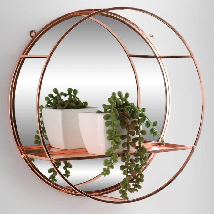 Karina Bailey round Mirror Shelf - Rose Gold