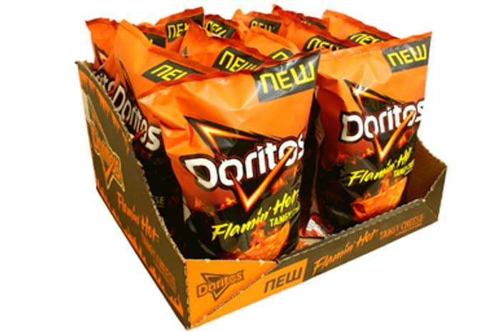 Box of 12 Doritos Flaming Hot Tangy Cheese ONLY £1.20 at Cheap Food (2020 DATE)