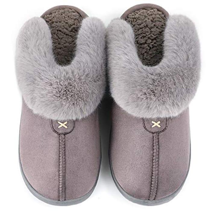 LongBay Ladies'Fluffy Memory Foam Slippers