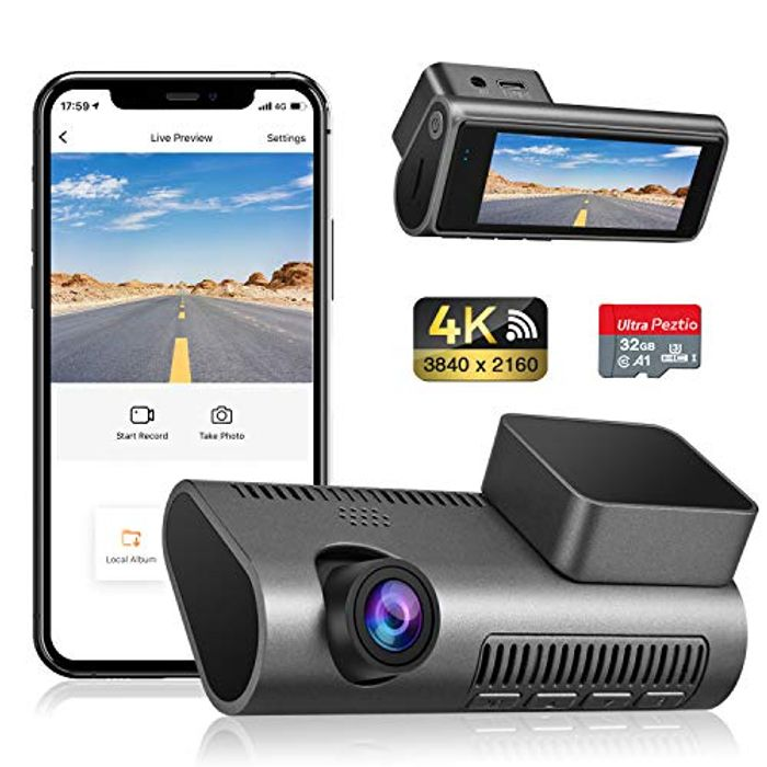 50% Off - 4K Ultra HD Car Dash Cam With SD Card & Night Vision - £35