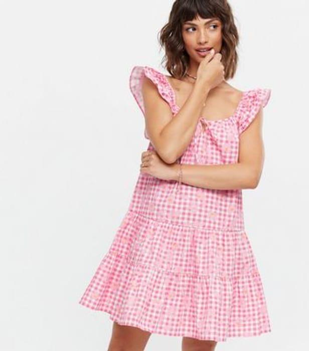 Pink Floral Gingham Tiered Smock Dress