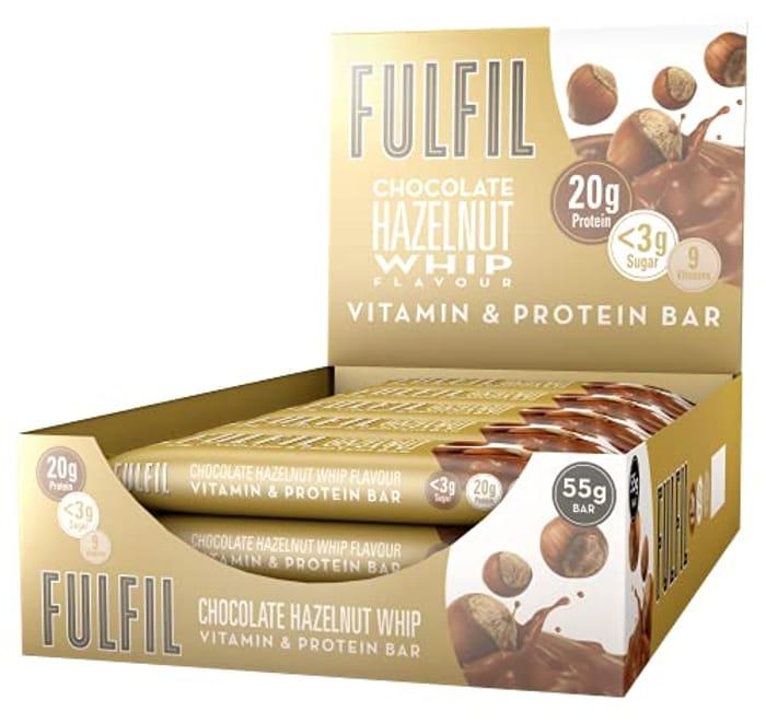 FULFIL Vitamin and Protein Bar (15 X 55g Bars) Chocolate Hazelnut Whip Flavour