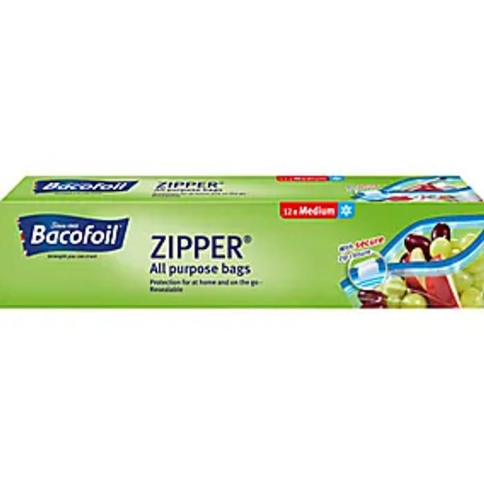 12 Bacofoil Medium Zipper Food Bags