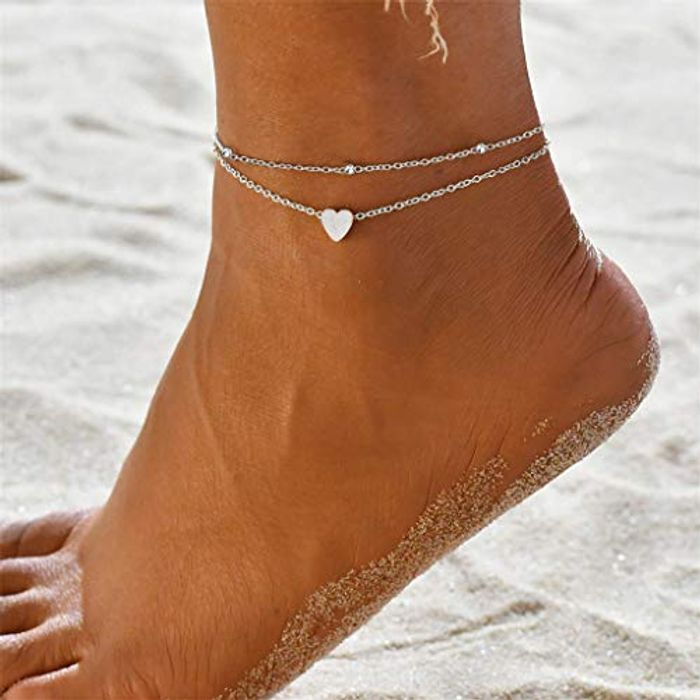Boho Layered Sand Beach Bead Foot Heart Anklets Chain Bracelet - Only £2.99!