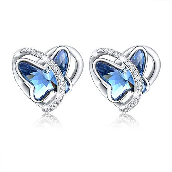 DEAL STACK - Angelady Butterfly Heart Stud Earring with Blue Crystal + £4 Coupon